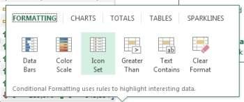 Quick Analysis Tool sam proponuje najlepsze formatowanie