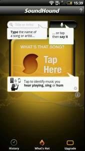 Interfejs programu SoundHound