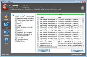 Ccleaner potrafi wyłapać błędne wpisy w rejestrze systemowym