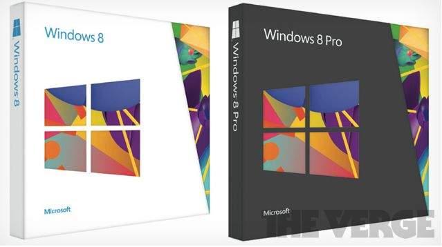 Pudełka dla Windows 8 i Windows 8 Pro; źródło: The Verge