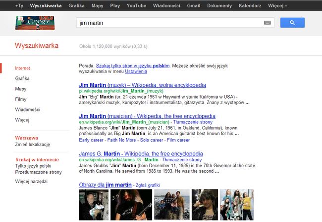 Wyniki wyszukiwania tego samego zapytania Jim Martin wykonane w tym samym czasie, ale w innych rejonach świata - Polslak