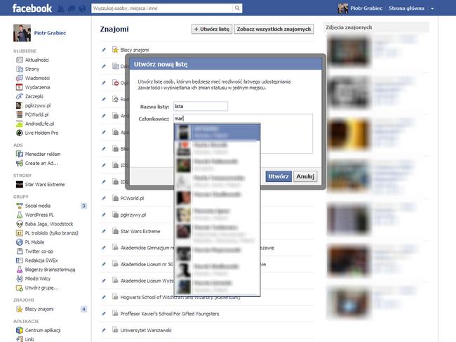 Facebook pozwala na tworzenie własnych list