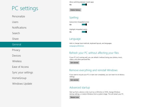 Windows 8 - Refresh/Reset