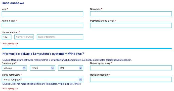 Formularz rejestracyjny w programie Oferta uaktualnienia systemu Windows