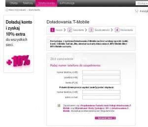 Strona doładowania w T-Mobile