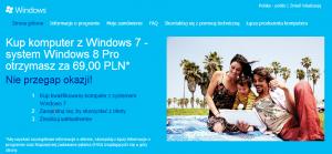 Koszt uaktualnienia Windowsa 7 do 8 to zaledwie 69zł