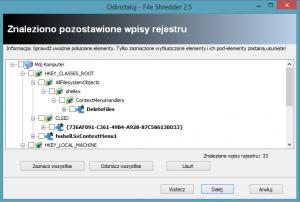 Revo Uninstaller - pozostawione przez aplikację wpisy w rejestrze
