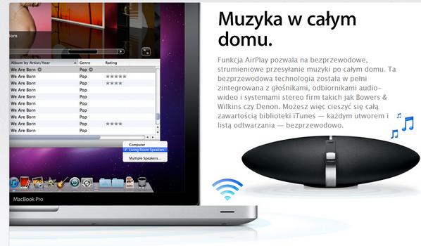 AirPlay pozwala na przesyłanie materiałów multimedialnych między urządzeniami Apple