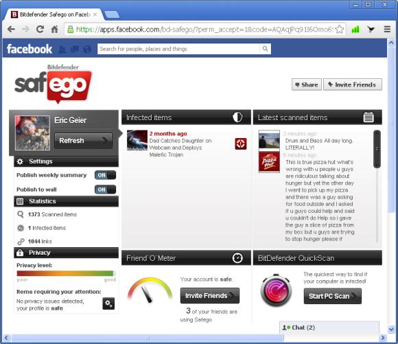 Strona aplikacji Bitdefender Safego pokazuje wszystkie statystyki i alarmy