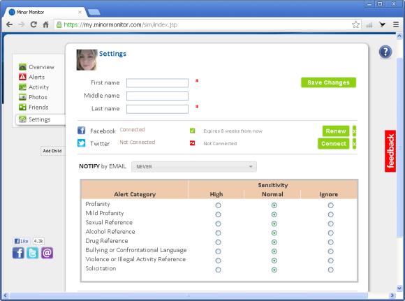 Na tym ekranie można zmienić ustawienia usługi Minor Monitor