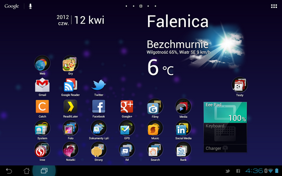 Android od wersji 3.0 posiada interfejs tabletowy