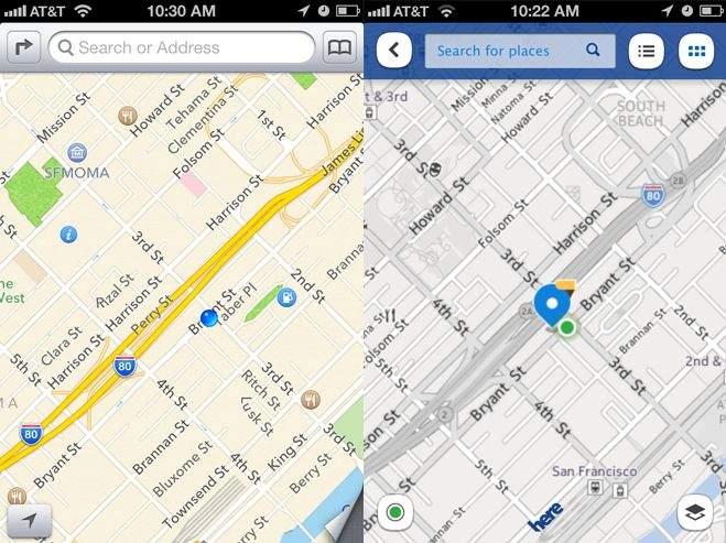 Porównanie wyglądu map Apple i Nokii (źródło: wired.com)