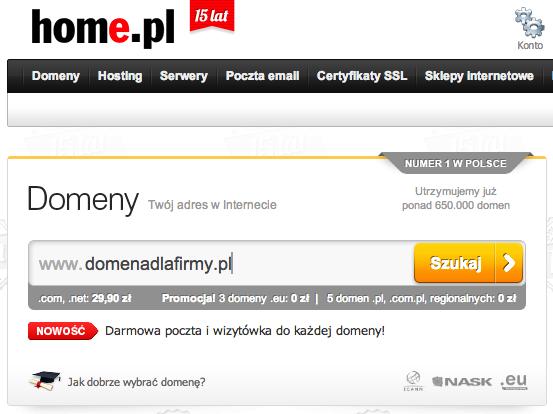 Dostępność domeny można sprawdzić na stronie każdej większej firmy hostingowej