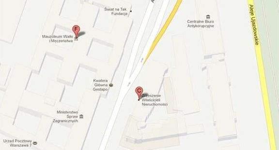 Na mapie widoczny napis Kwatera Główna Gestapo