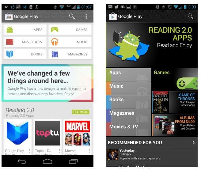 Google Play Store 4.0 i jego poprzednik