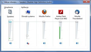 Mikser głośności w Windows 7 wyświetla wszystkie aplikacje korzystające z urządzeń dźwiękowych.