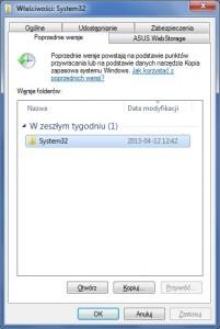 Na tej karcie Windows wyświetla dostępne kopie zapasowe danego folderu. Kliknij żądaną wersję, aby odtworzyć zawarte w niej pliki.
