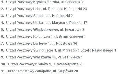 Lista placówek Poczty Polskiej biorących udział w wakacyjnej akcji.