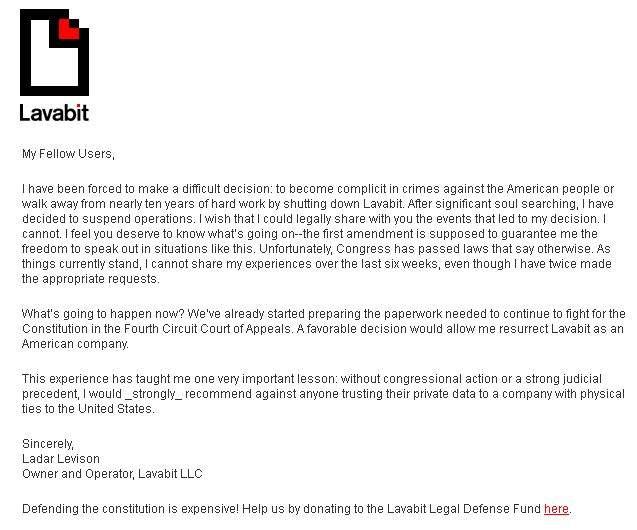 Komunikat na stronie serwisu Lavabit