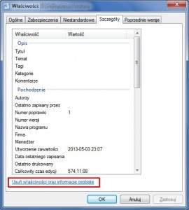 Osobiste informacje osadzone w dokumentach pakietu Office usuniesz z poziomu Eksploratora.
