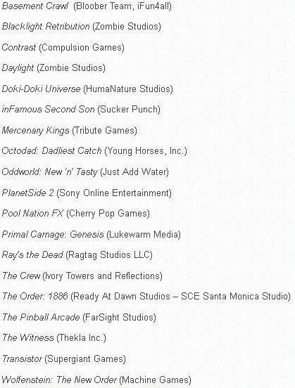 PlayStation 4 - gry (15.11.13 - 31.03.14)