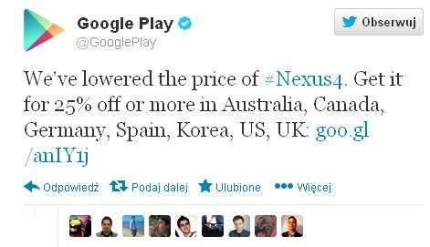 Nexus 4 z niższymi cenami w Google Play