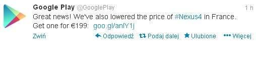 Nexus 4 - obniżka ceny w francuskim Google Play