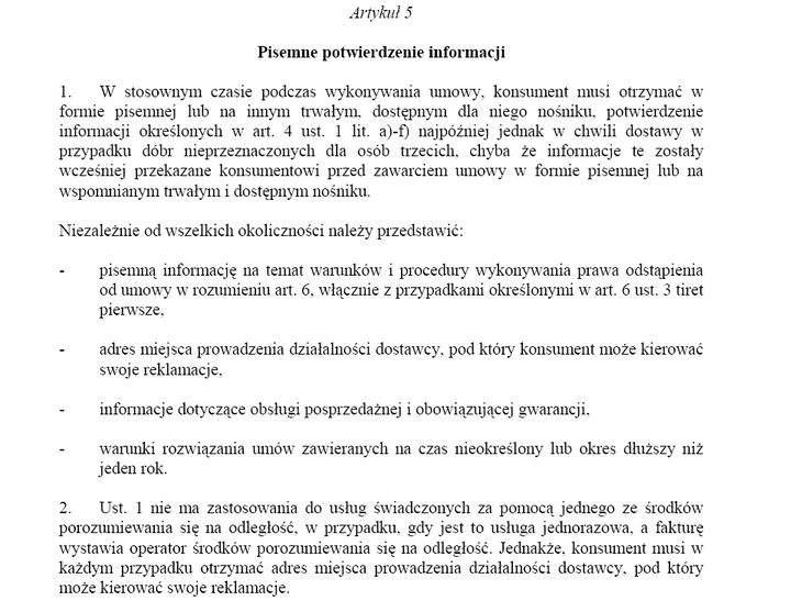 art. 5 Dyrektywy unijnej 97/7/WE