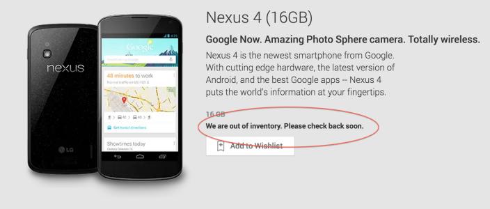 Nexus 4 wyprzedany w Google Play