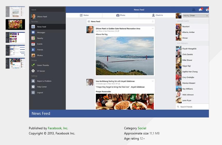 Facebook Windows 8