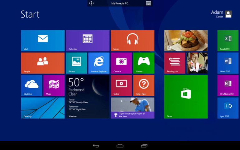 Windows 8.1 wraz z aplikacją zdalnego pulpitu na Androida