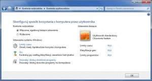 W tym oknie można skonfigurować blokadę rodzicielską konta w Windows 7.