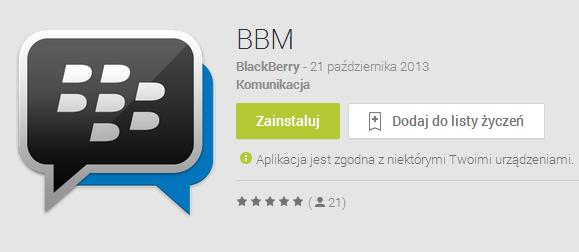 Komunikator BBM pojawił się w sklepach Google Play i App Store