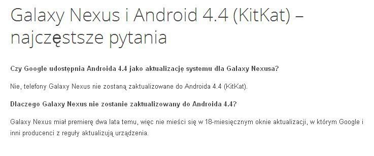 Masz Galaxy Nexusa i czekasz na Androida 4.4 KitKat? Zapomnij...