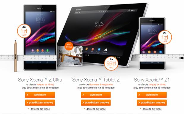 Sony Xperia Z1 i nie tylko w promocji operatora Orange i sieci sklepów IKEA