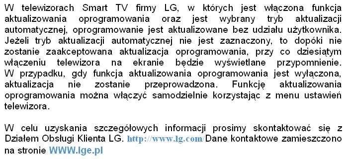 LG Smart TV - aktualizacja oprogramowania