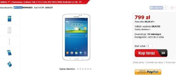 Oferta tabletu Galaxy Tab 3 Lite 3G