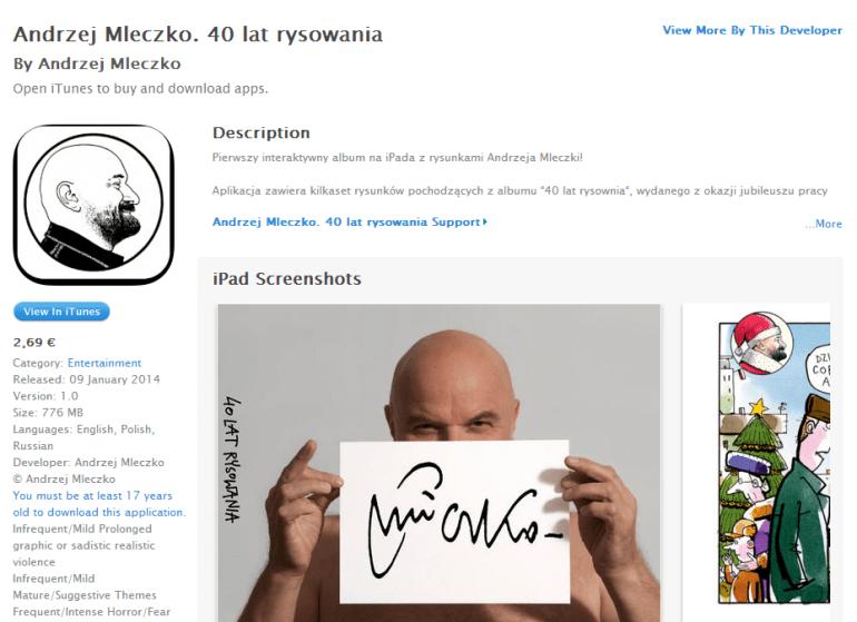 """Rysunki z albumu """"40 lat rysowania"""" Andrzeja Mleczki w formie aplikacji na iPada"""