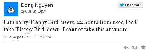 Gra Flappy Bird za kilka godzin zniknie z App Store i Google Play!