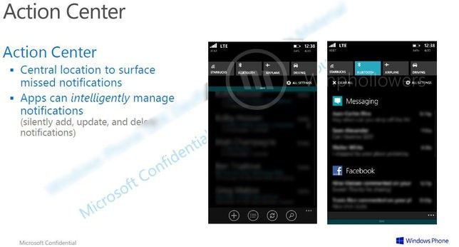 Windows Phone 8.1 ma posiadać Action Center, czyli centrum powiadomień