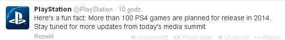 """Sony PlayStation 4 - zapowiedź 100 """"nowych"""" gier."""