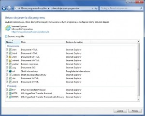 Po ponownym zdefiniowaniu programu domyślnego Windows odtworzy skojarzenia z typami plików. W wypadku przeglądarki internetowej są na nowo rejestrowane takie protokoły jak http://.