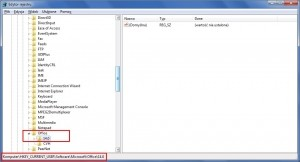 W obrębie tego klucza pakiet Office gromadzi swoje ustawienia. Liczba może się różnić zależnie od numeru wersji.