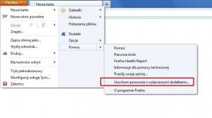 W razie problemów z działaniem przeglądarki Firefox spróbuj uruchomić ją bez dodatków.