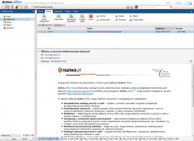 Active.office dołączany do serwerów Active w nazwa.pl łączy w sobie funkcje webowego klienta poczty (webmail), menedżera kontaktów, kalendarza i listy zadań.