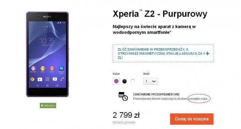 Sony Xperia Z2 zadebiutuje w Polsce jednak z opóźnieniem