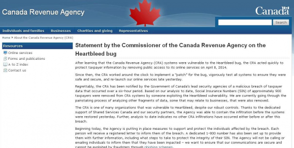 Oficjalne oświadczenie CRA