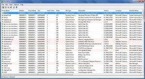 Narzędzie DriverView wyświetla wszystkie sterowniki w tabelarycznej postaci, podając dodatkowe informacje takie jak opis, producent, numer wersji i in.