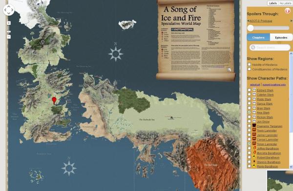 Westeros w formie Google Maps