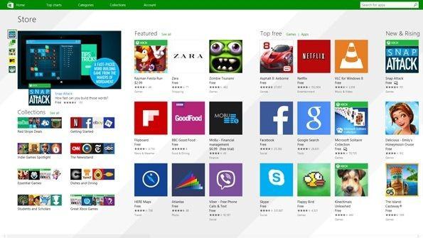 Sklep Windows z aplikacjami Modern z nowym interfejsem dla Windows 8.1 Update 1